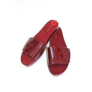 New Calvin Klein Wine Parlina Slides Sandals Sz 6